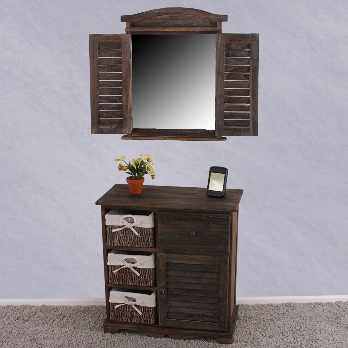 komoda s 3 ko kmi shabby vintage 63x60x30cm antik hned design. Black Bedroom Furniture Sets. Home Design Ideas