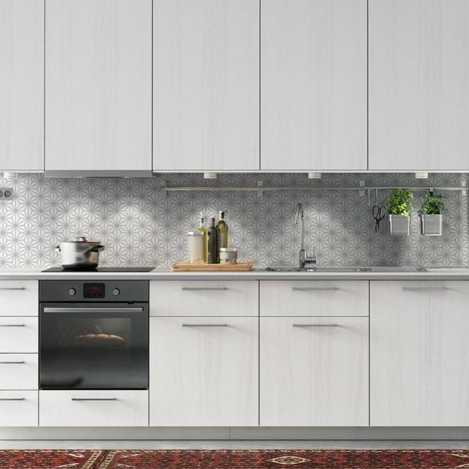 d3393c47294ff Kuchynská tapeta zástena KitchenWalls - STAR grey (300 x 60 cm)