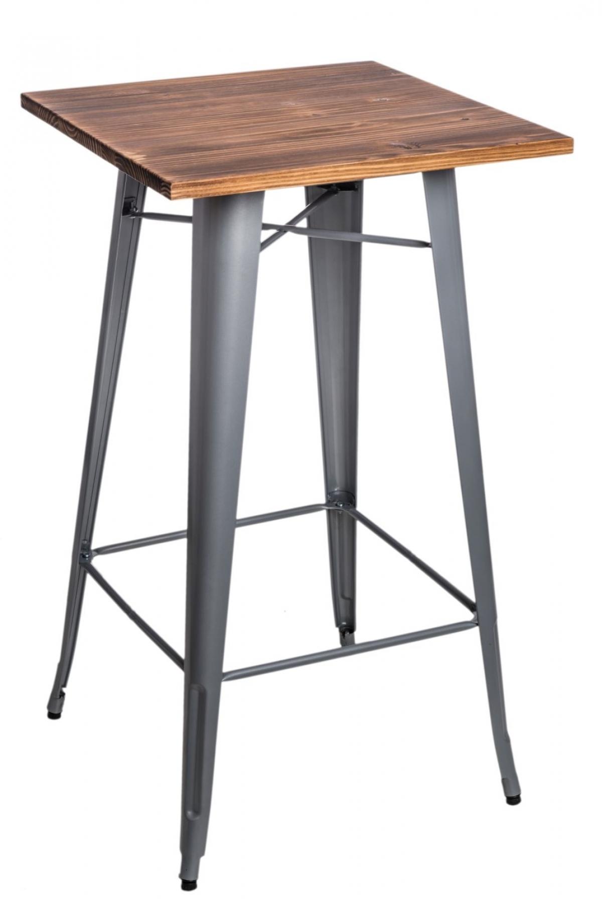 fe8a518dc6f9 Kovový barový stôl Paris s drevenou doskou