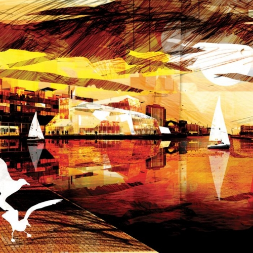 Vliesová tapeta Mr Perswall - Waterfront 450 x 265 cm