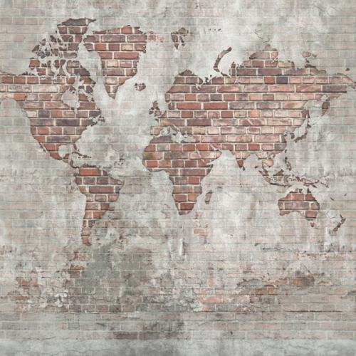 Vliesová tapeta Mr Perswall - Brick Wall World Map 450 x 265 cm