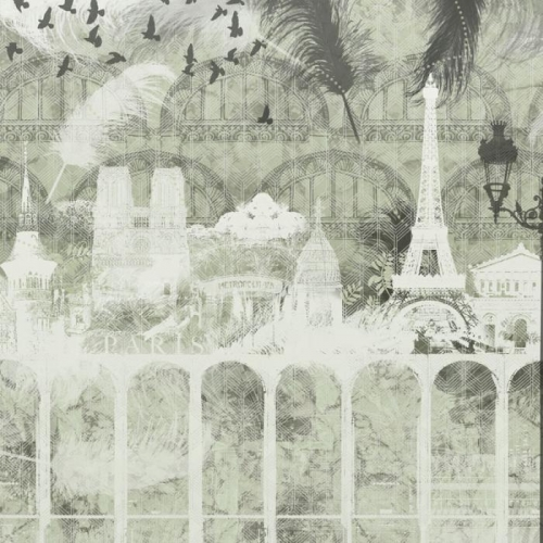 Vliesová tapeta Mr Perswall - Plume Paris - Verte 450 x 265 cm